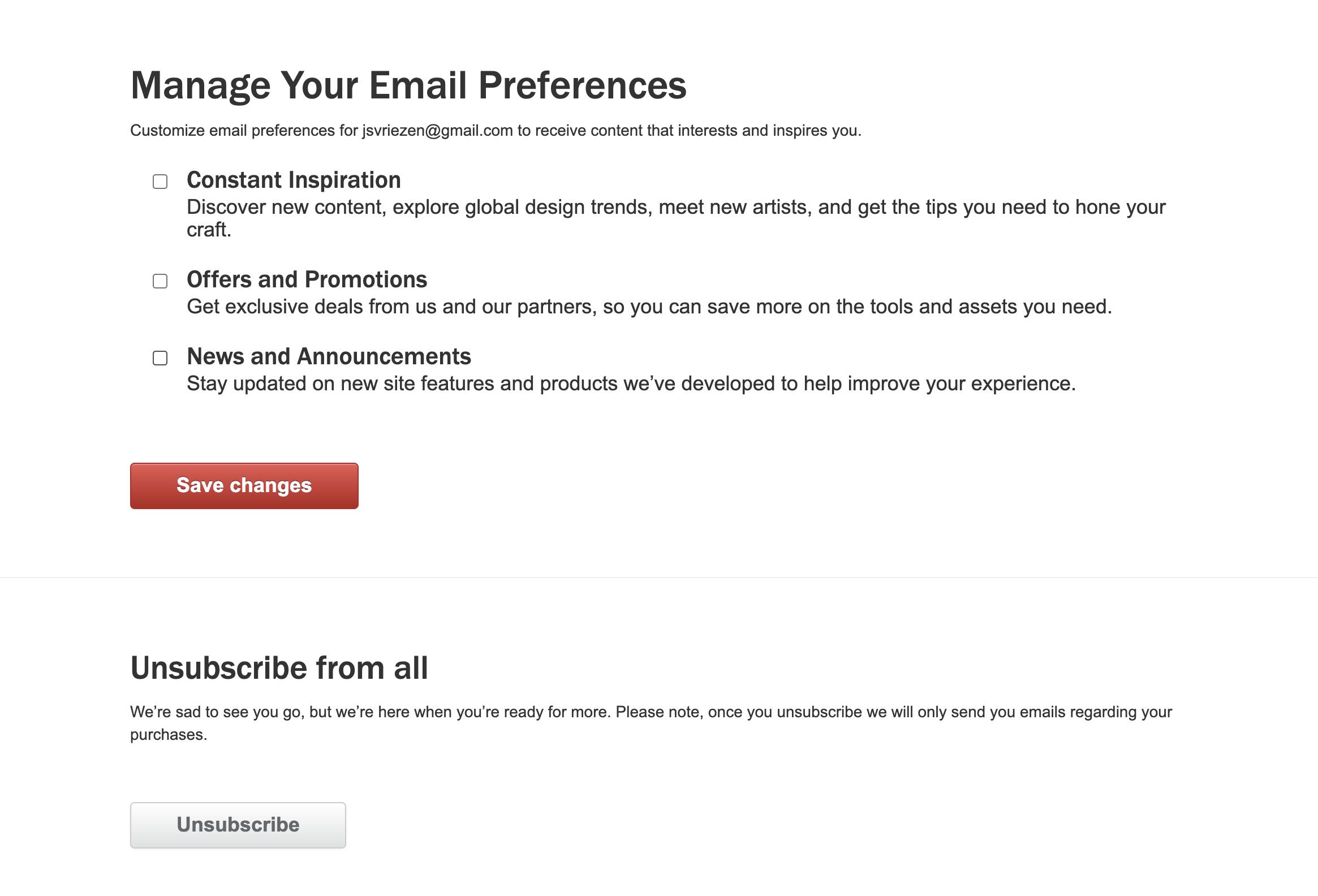 Voorbeeld van een e-mail preference center